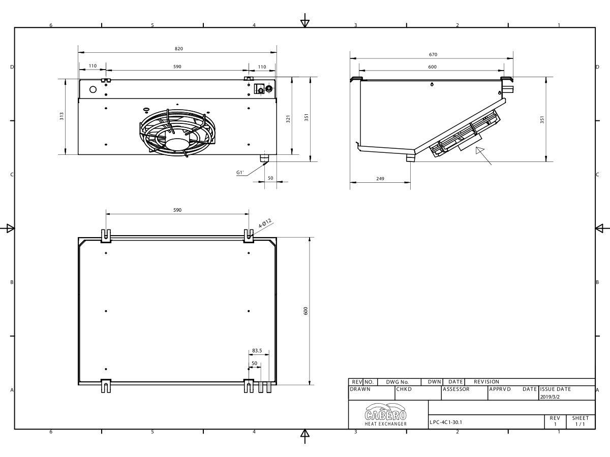 Cabero Low Profile Evaporator Medium Temperature LPC4C1-30-1