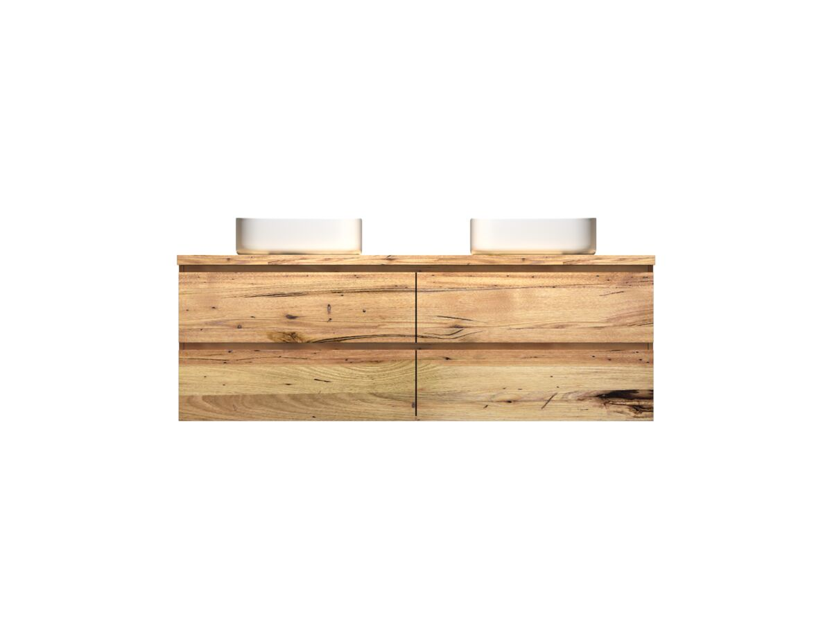 Kado Arc Timber Twin Drawer 1500 Double Bowl Vanity Timber 32mm Top