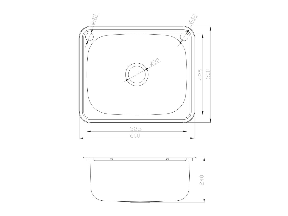 Base Inset Laundry Trough 1 Taphole & Bypass 45 litres Stainless Steel