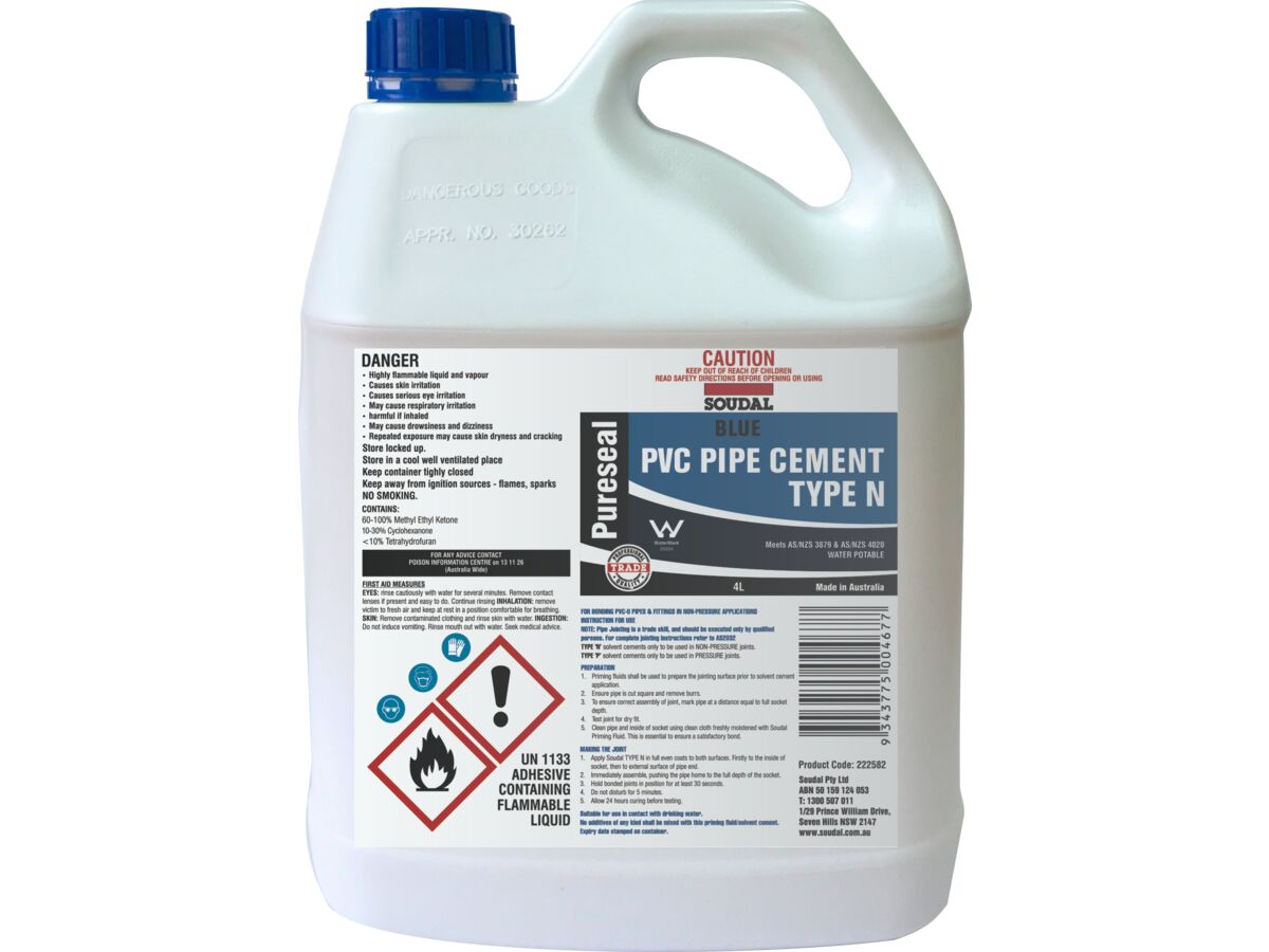 Soudal Pureseal Solvent Cement Type N Blue 4ltr