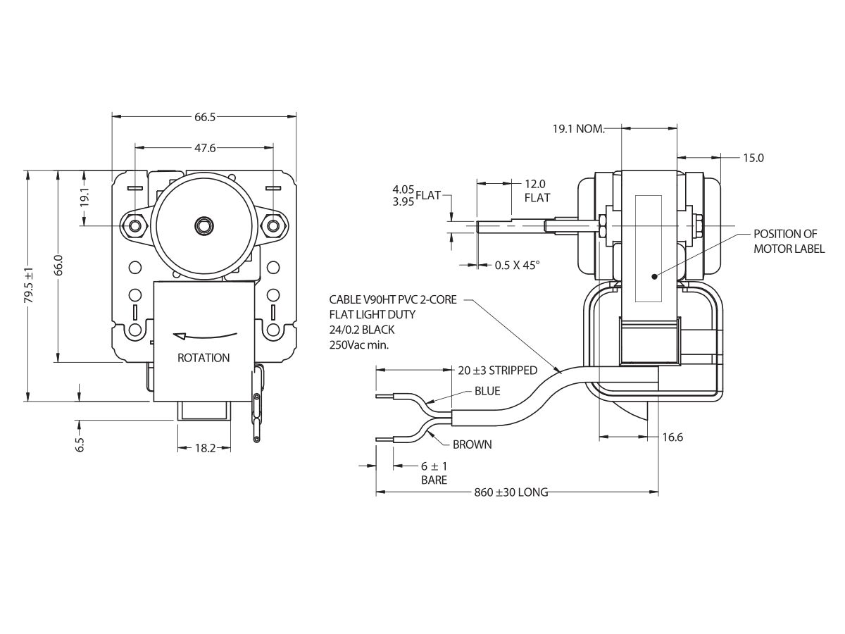JO6RF24 Frost Free Fan Motor