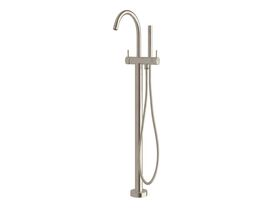Scala Floor Mount Bath Mixer with Hand Shower Curved Trim LUX PVD Brushed Oyster Nickel (3 Star)