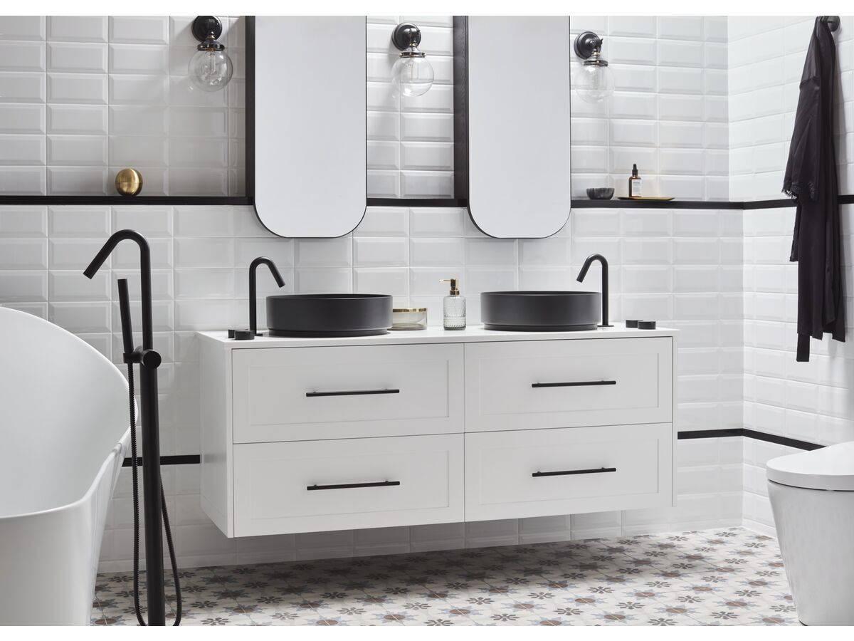 Kado Lux Wall Hung 1500mm 4 Drawer Double Bowl Vanity (No Basin)