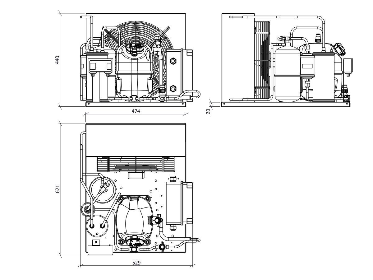Tecumseh EVO Condensing Unit 1.25hp R404 MHBP EPCH4517Z 1 Phase