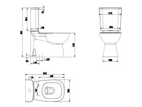 Posh Domaine Close Coupled Rimless Toilet Suite S Trap Soft Close Quick Release Seat White Chrome (4 Star)