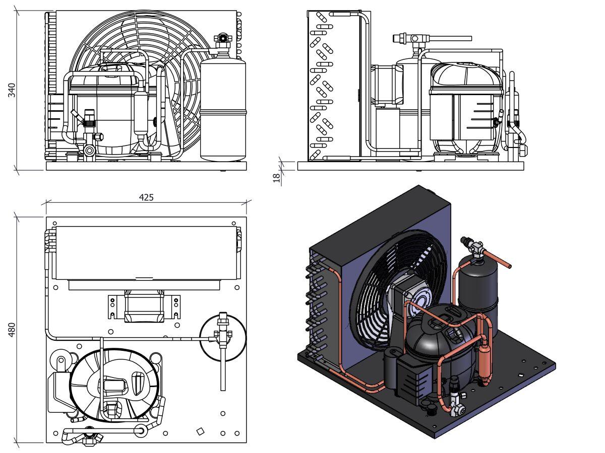 Tecumseh Condensing Unit 1/2hp R404A MHBP Aet4460ZHR