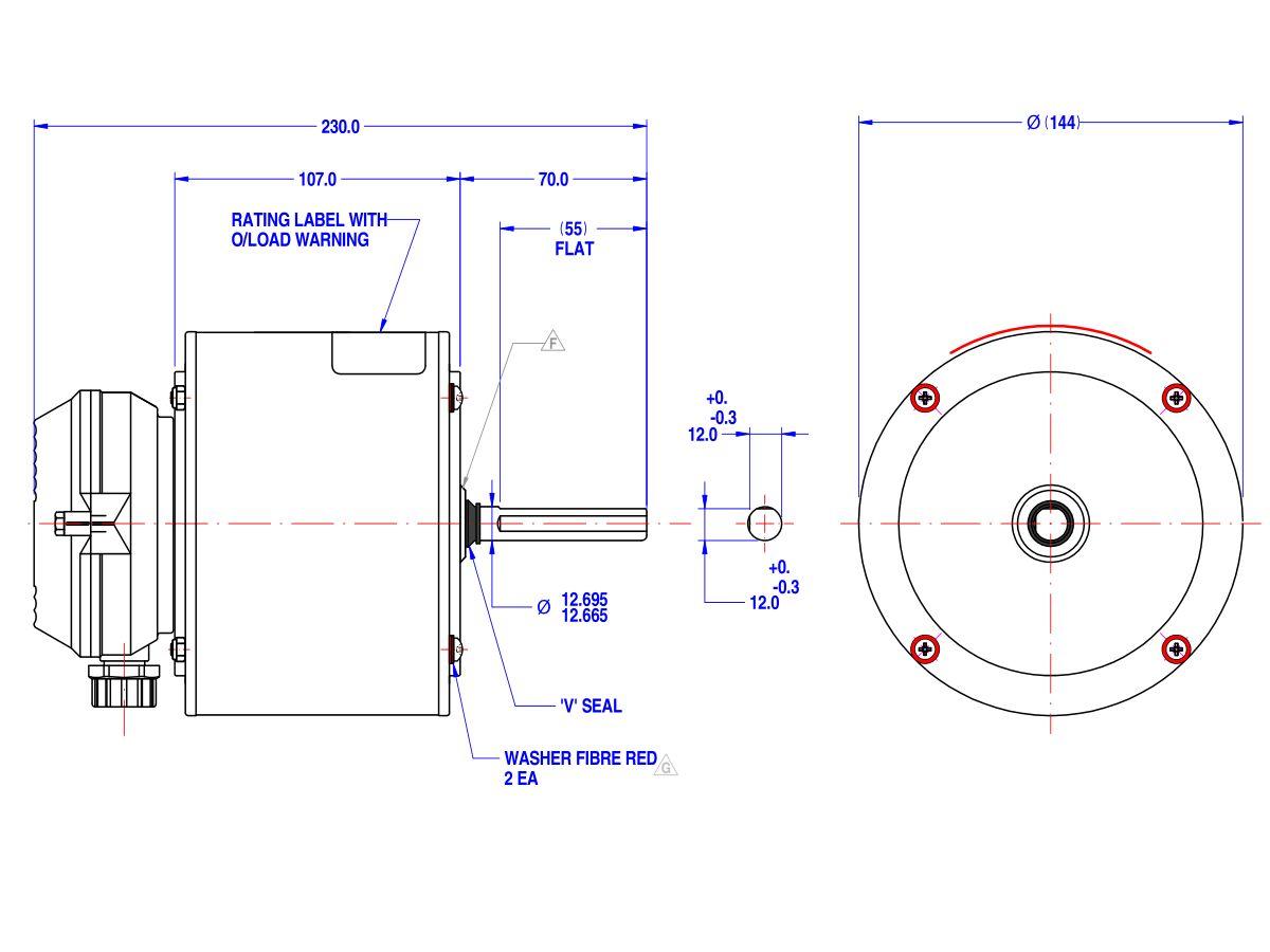 808554LTB-A80 Motor 180W 1 Speed 240V