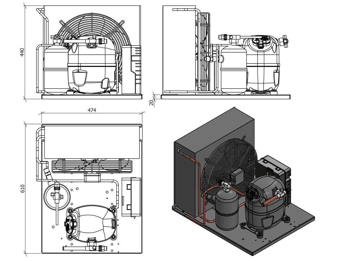 Tecumseh Condensing Unit R404A CAJT9513ZMHR-FZ-S 1 1/8 HP
