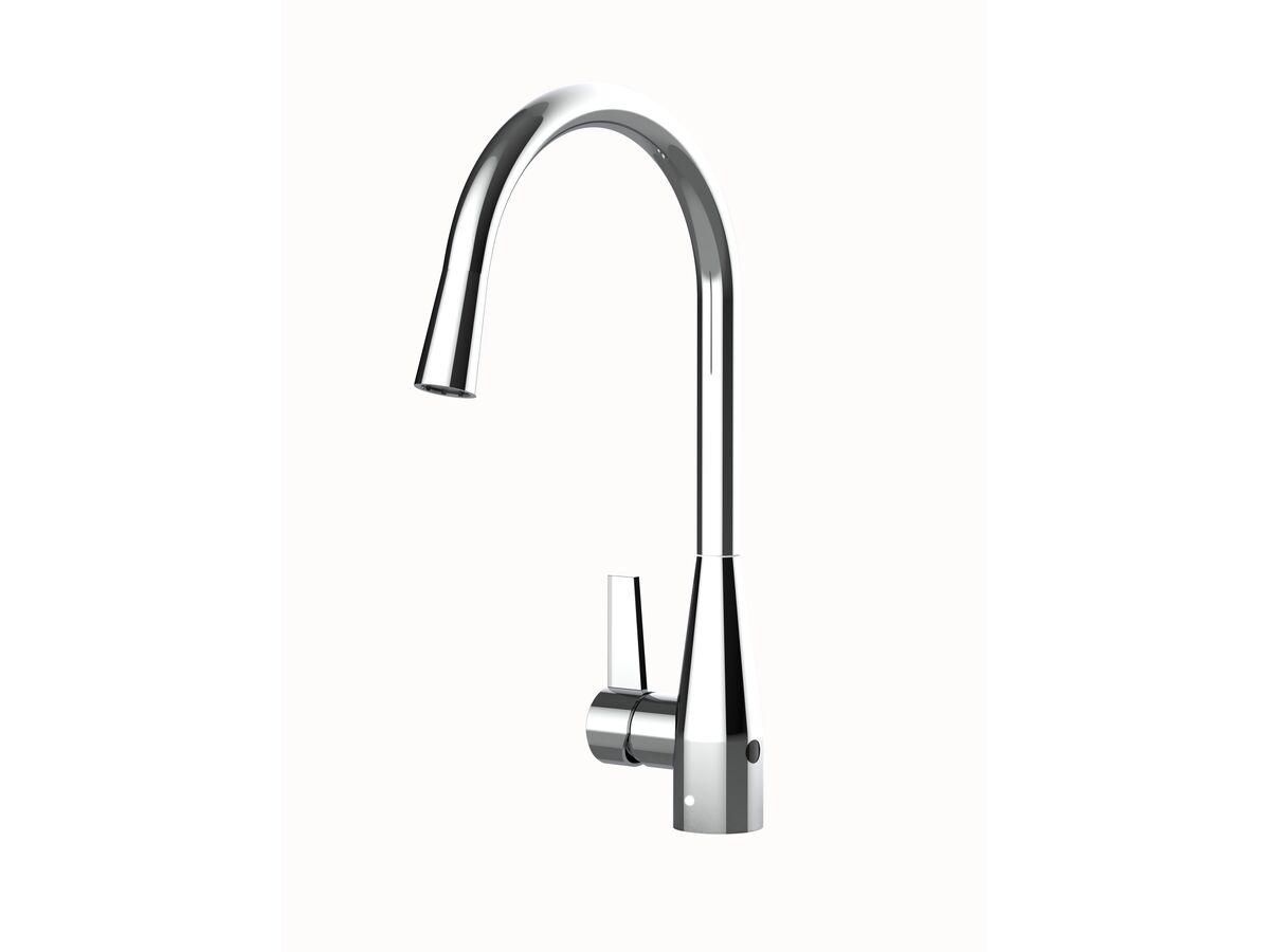 Memo Sia Sensor Gooseneck Sink Mixer Tap Dual Function Left Hand Lever Chrome (4 Star)
