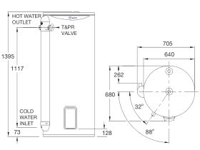 RheemPlus 250L 3.6kW Single Element Electric Hot Water System