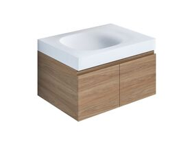 Kado Lussi 700mm Wall Hung Vanity Unit with Two Soft Close Doors Timber Finish