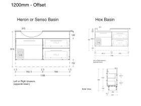 ADP Essence MKII Semi Recess Vanity Unit Offset 1 Door, 2 Drawers No Basin 1200mm
