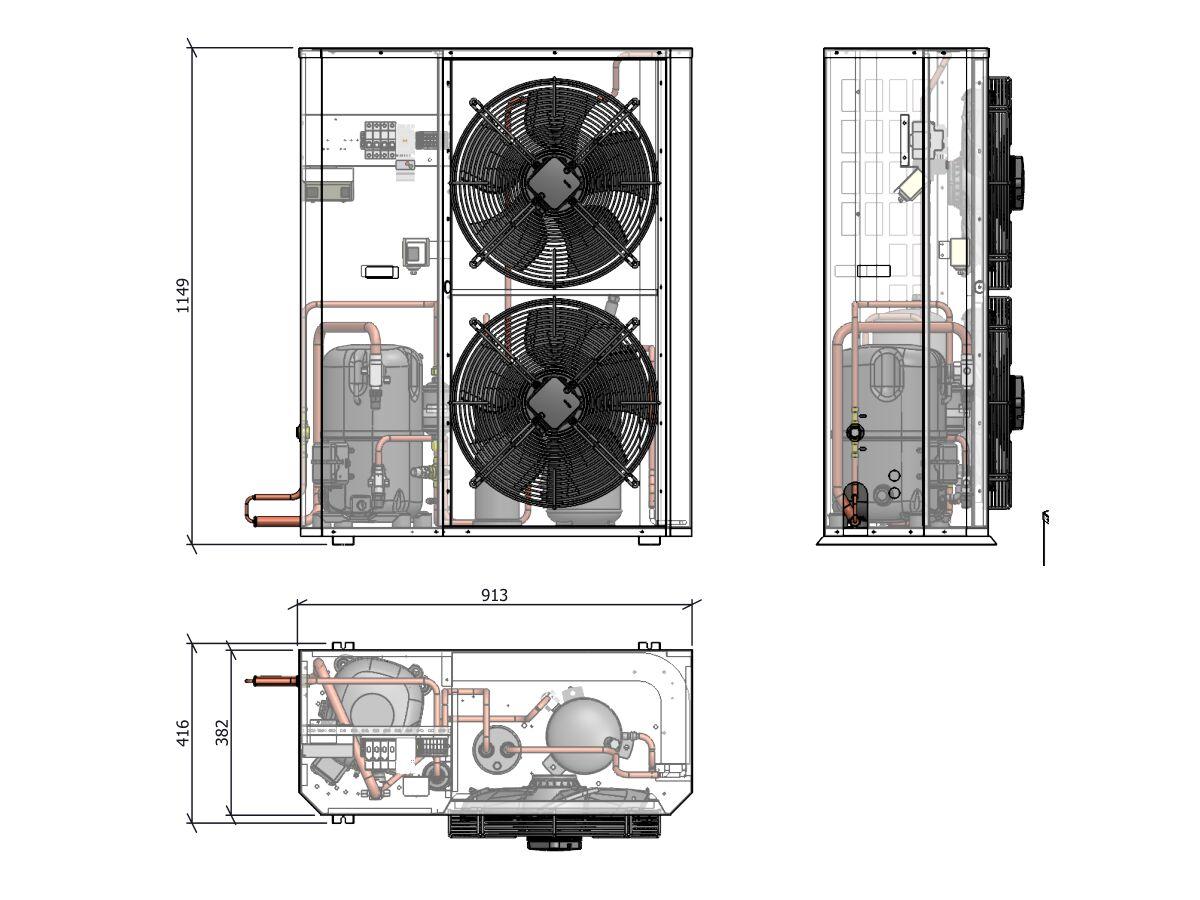 Tecumseh Compac Condensing Unit R404A PAC4561Z 3 Phase