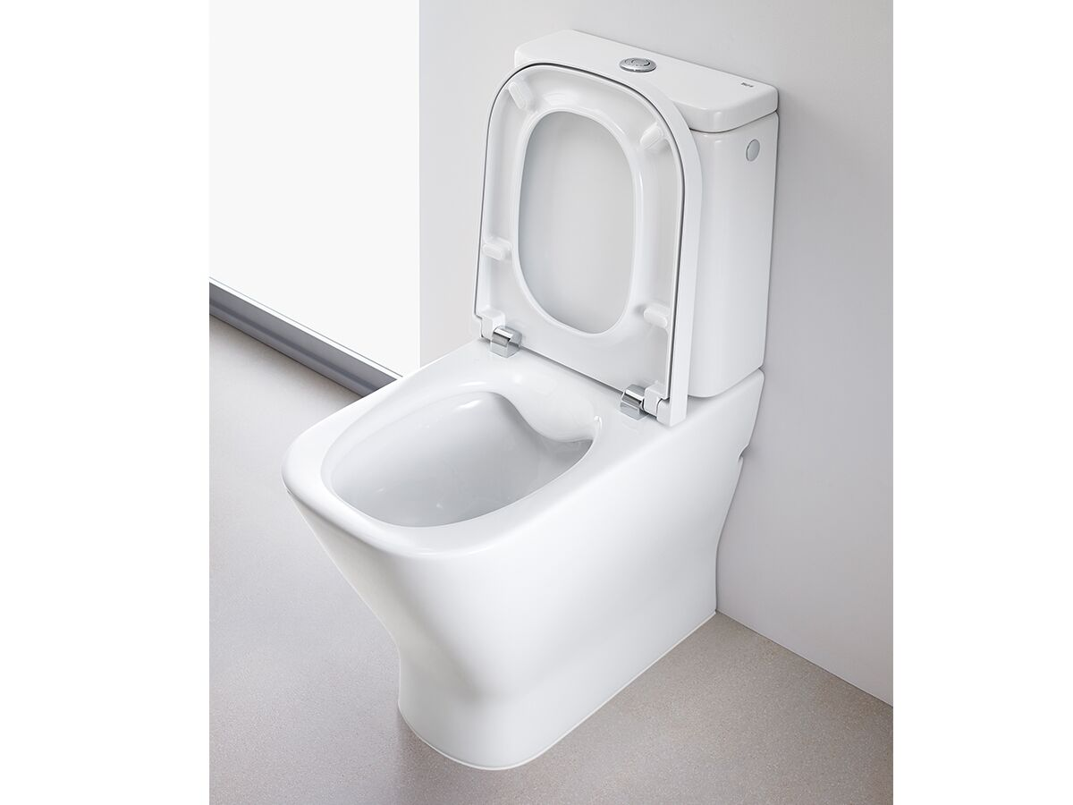 The Gap Rimless Close Coupled Back to Wall Toilet Suite Soft Close Quick Release Seat White (4 Star)
