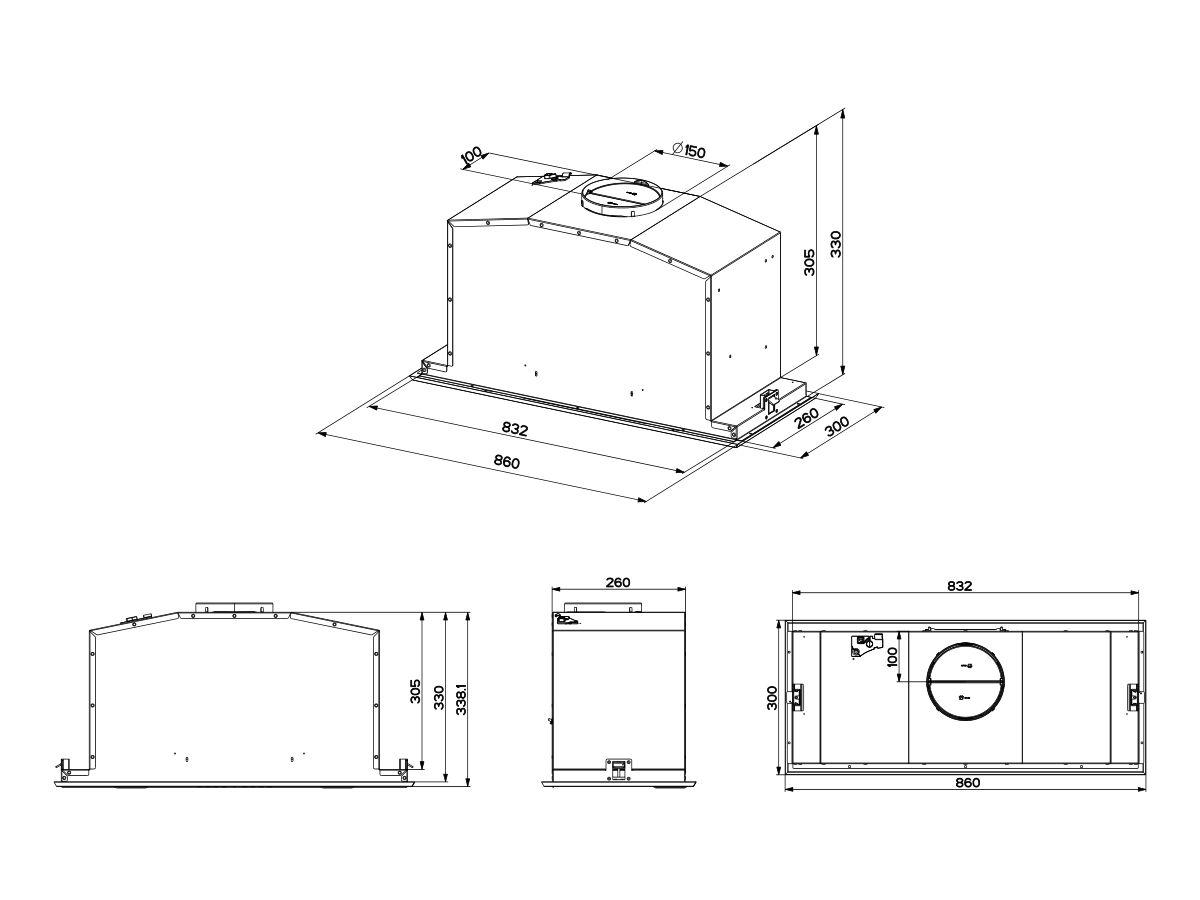 Franke Designer Undermount Rangehood 86cm Stainless Steel