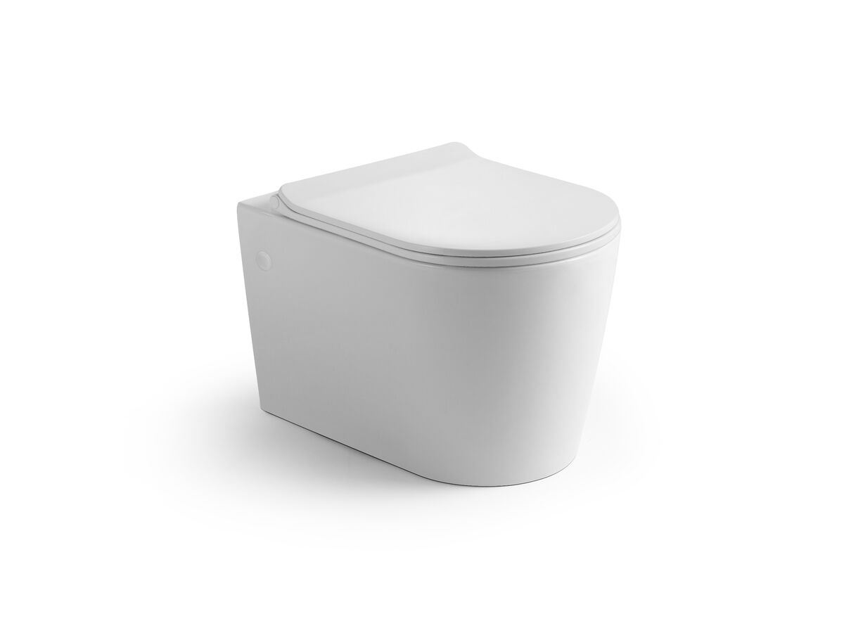 Kado Lux Wall Hung Rimless Pan with Soft Close Quick Release Seat Thin White (4 Star)