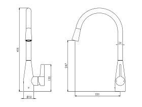 Memo Sia Sensor Gooseneck Sink Mixer Tap Dual Function Right Hand Lever (4 Star)