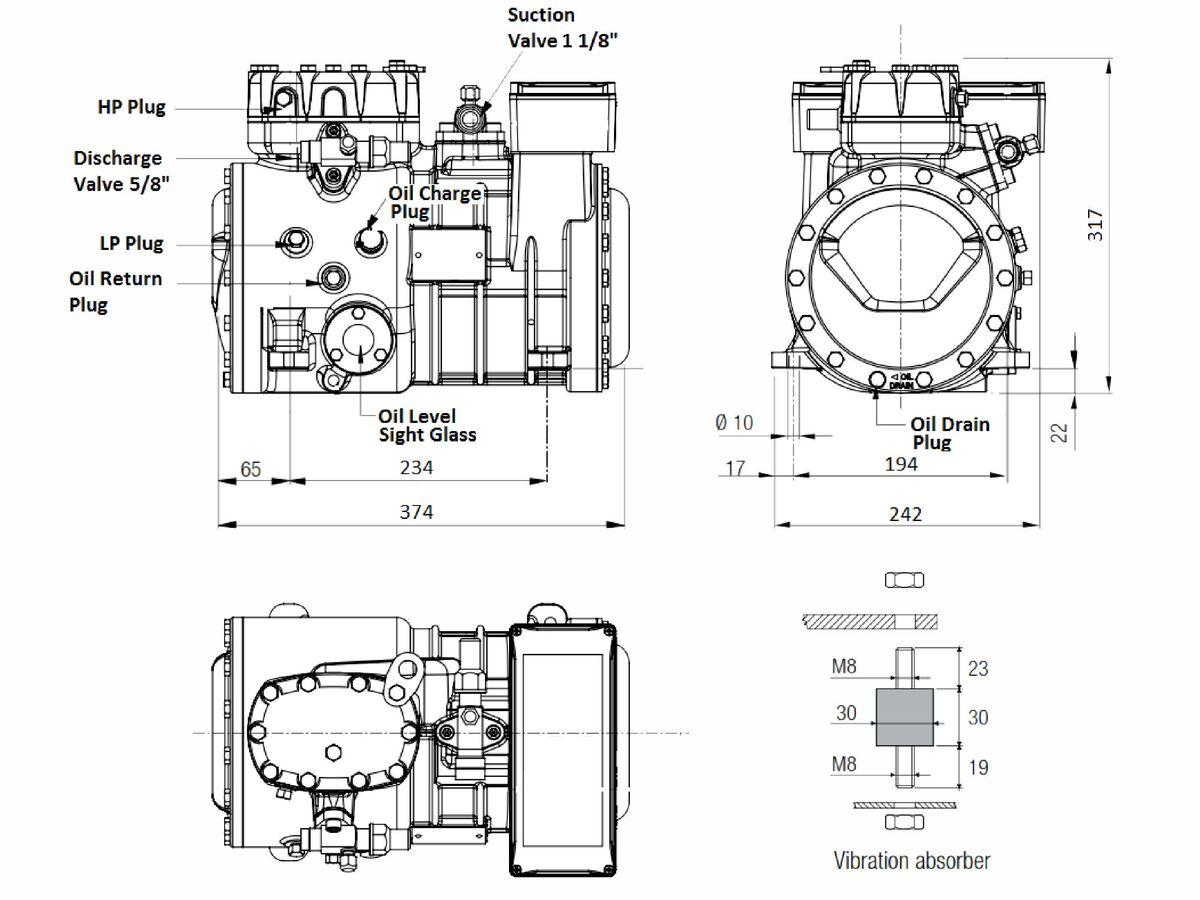 Tecumseh Semi Hermetic Compressor SH4550Z