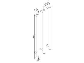 Milli Pure Vertical Triple Heated Towel Rail 900 x 38mm