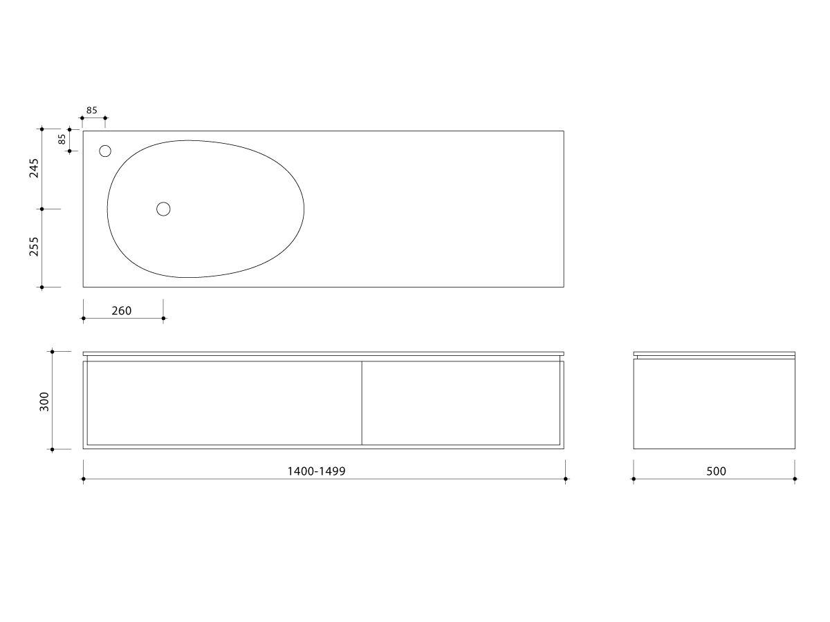 Issy Glide Wall Hung Vanity Unit Single Bowl 2 Drawers Custom 1400-1499mm White