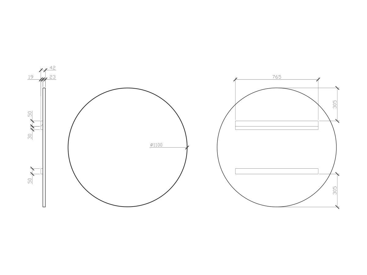 Issy Z1 Round Mirror 1100mm (Diameter) x 22mm (Deep)