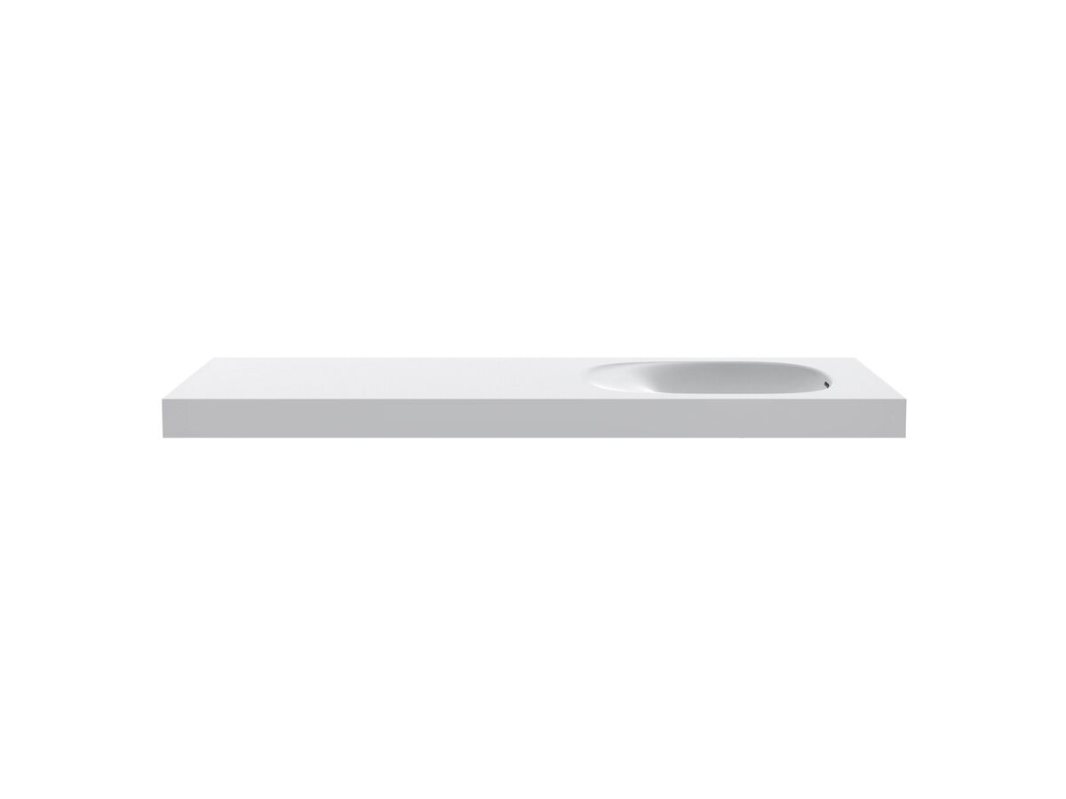 Kado Lussi 1500mm Single Wall Basin Right Hand Bowl with Overflow No Taphole Matte White Solid Surface
