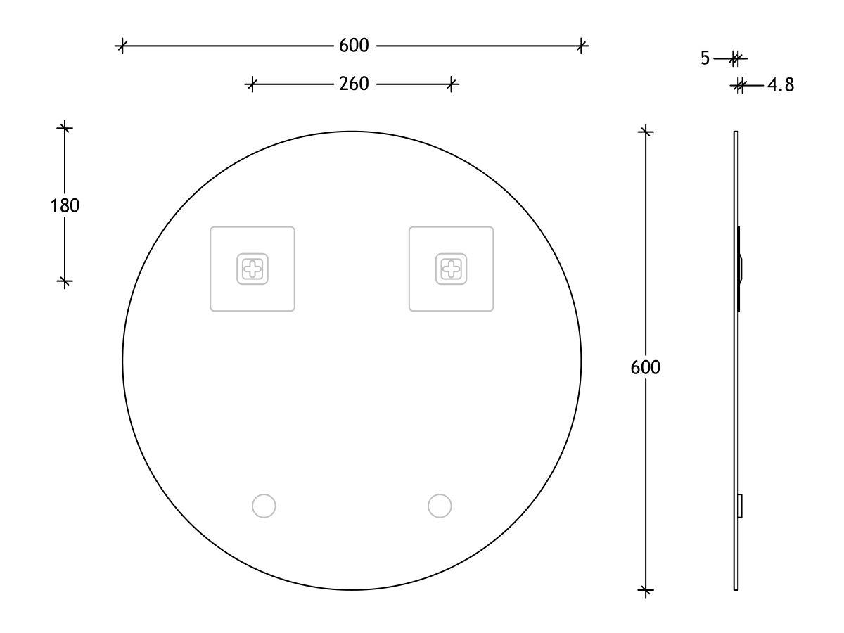 Posh Domaine Round Polished Edge Mirror 600x600