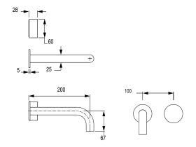 Milli Pure Progressive Bath Mixer Tap System 200mm with Hand Shower Right Hand