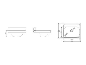 Wolfen Wall Hand Basin 500 x 420mm No Taphole Stainless Steel