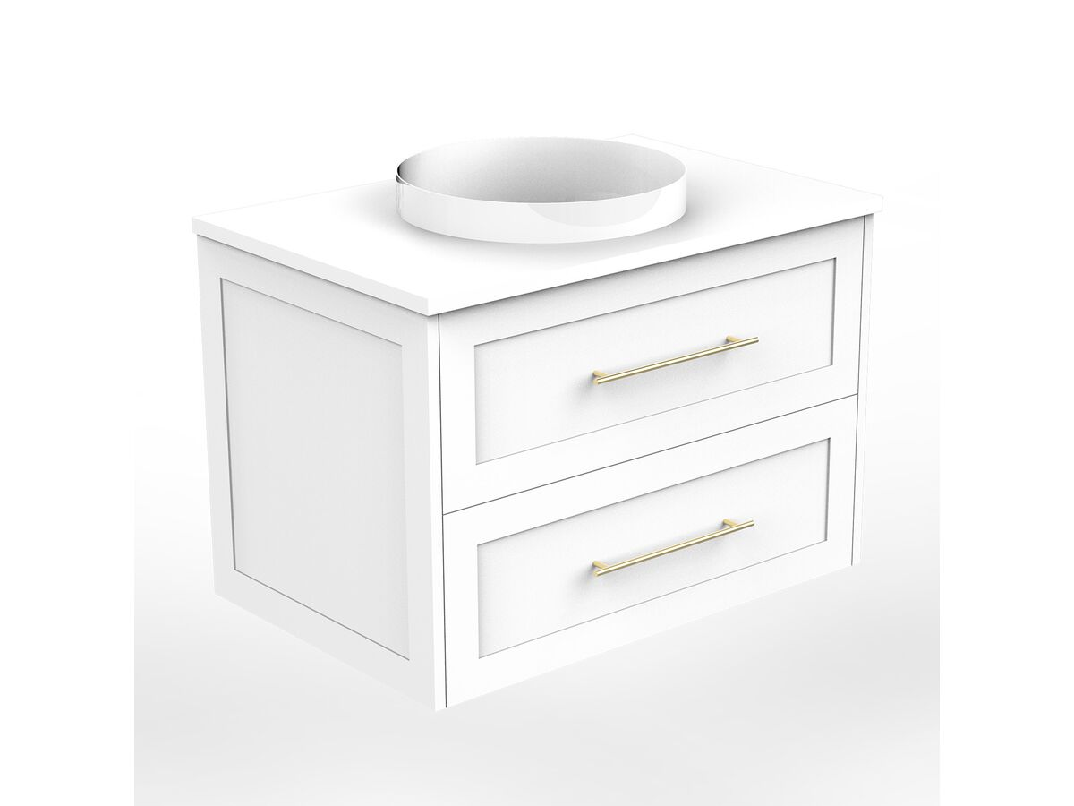 Kado Lux Wall Hung 750mm 2 Drawer Single Centre Vanity (No Basin)