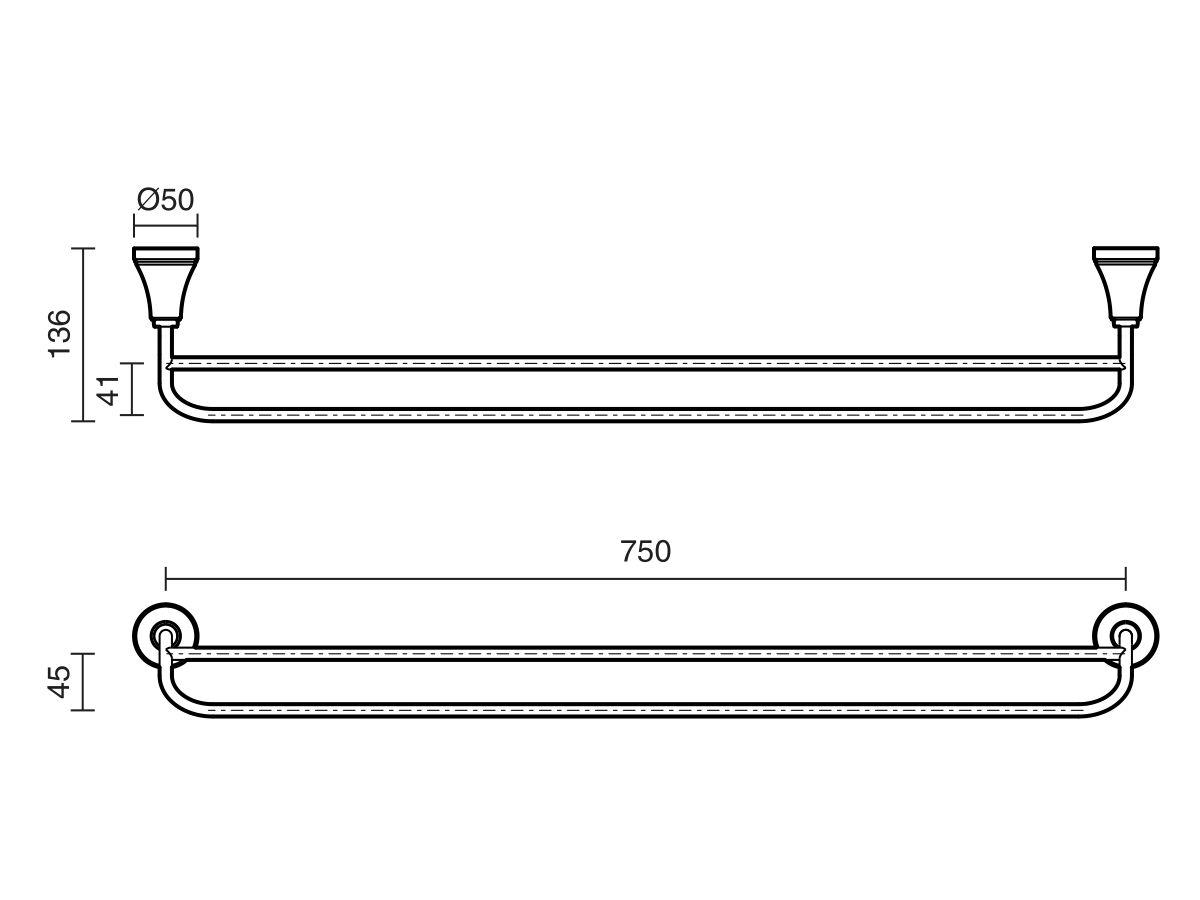 Kado Classic Double Towel Rail 750mm Chrome