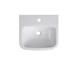 Wolfen Wall Basin Only 400 x 365mm Overflow 1 Taphole White