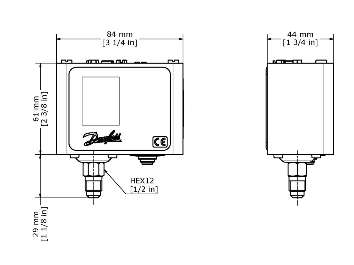 Technical Drawing - Danfoss KPPressure Control