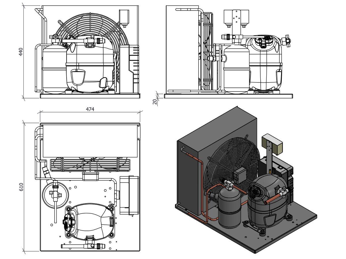 Tecumseh AJ2 HTA Condensing Unit 1 1/4 R404 MHBP CAJT4517ZHR-FZ-3 with Pressure Control 1.5 HP