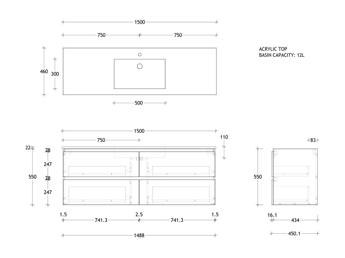 Posh Domaine All-Drawer Twin 1500 Single Wall Hung Acrylic