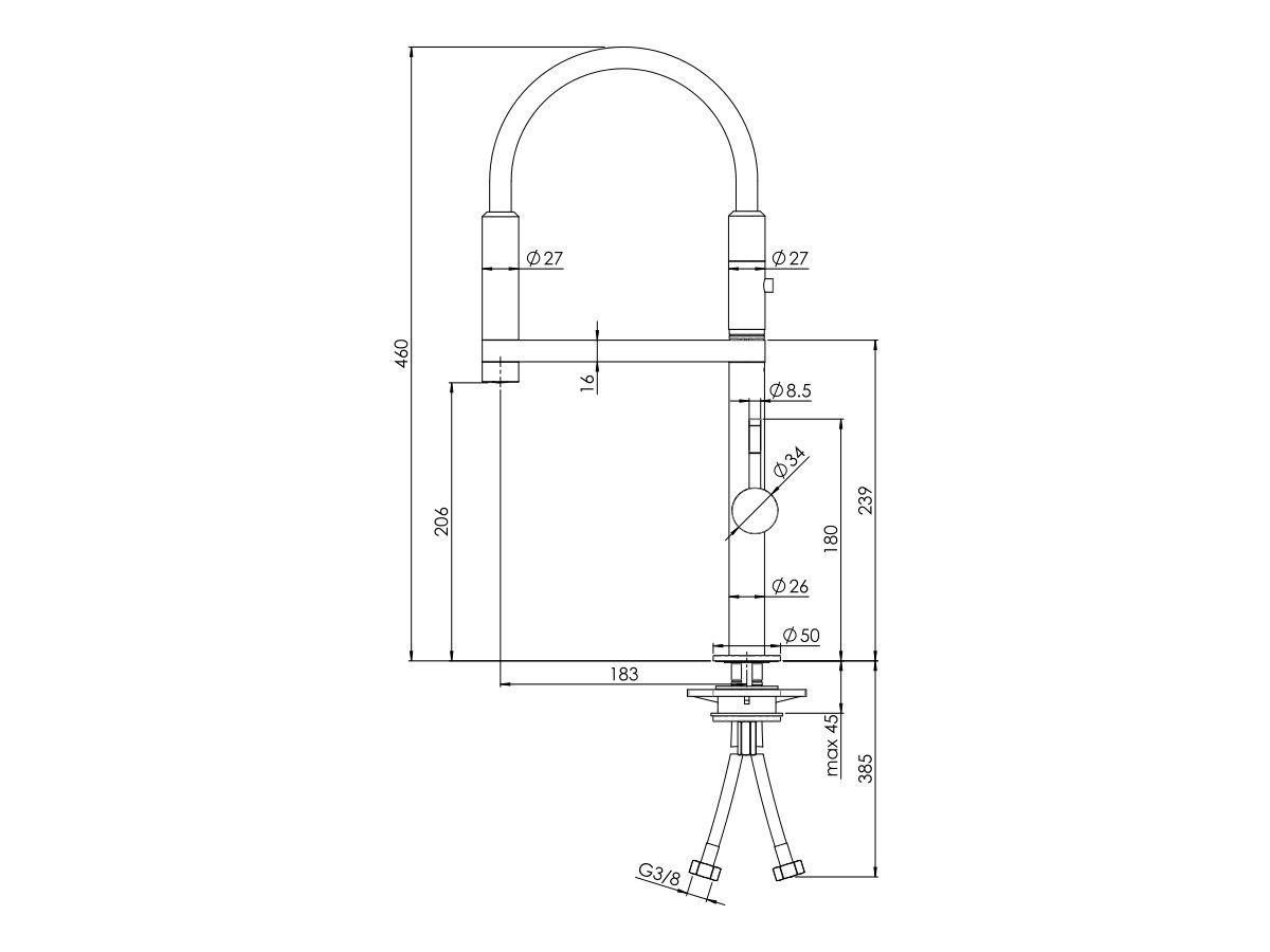 Nobili Move Pull Down Sink Mixer Chrome (5 Star)