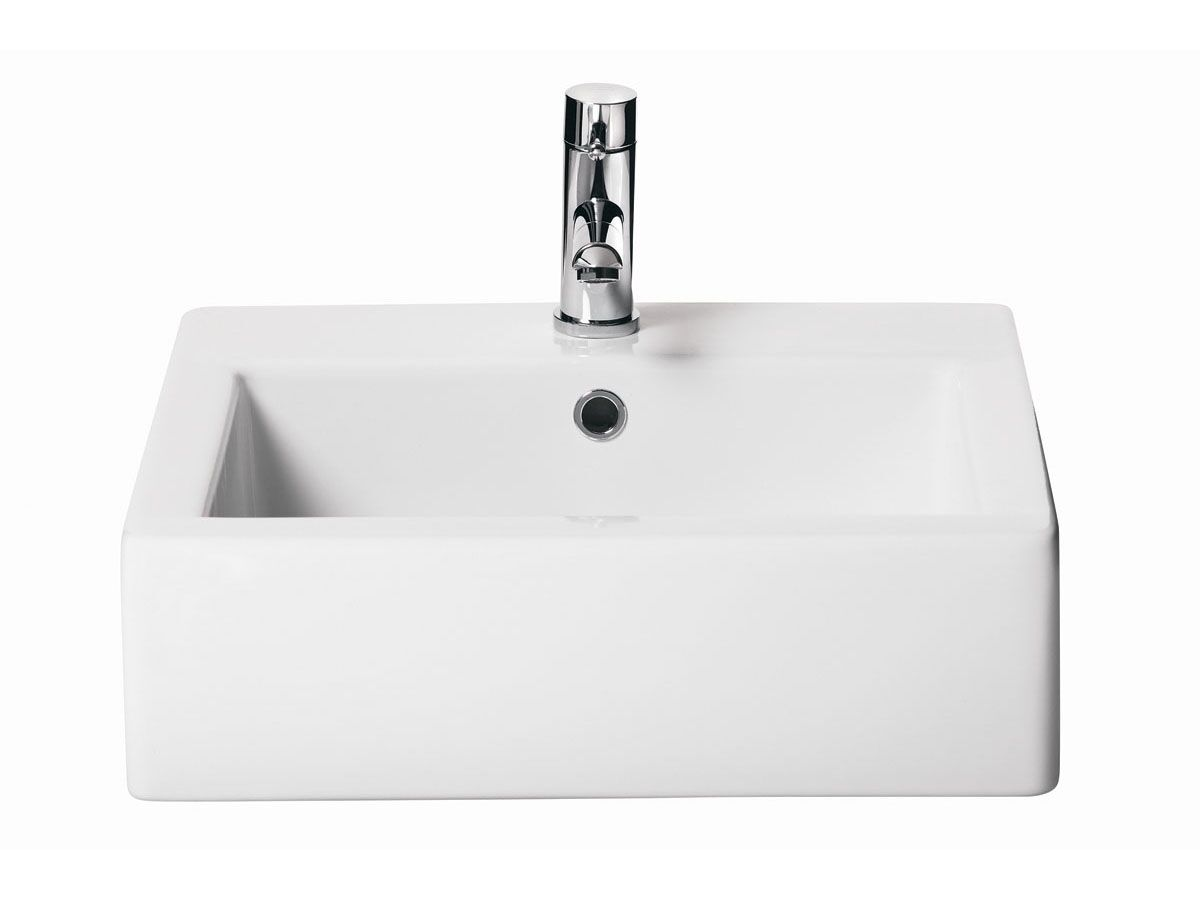 AXA Hox Above Counter/ Wall Basin 1 Taphole 480mm White