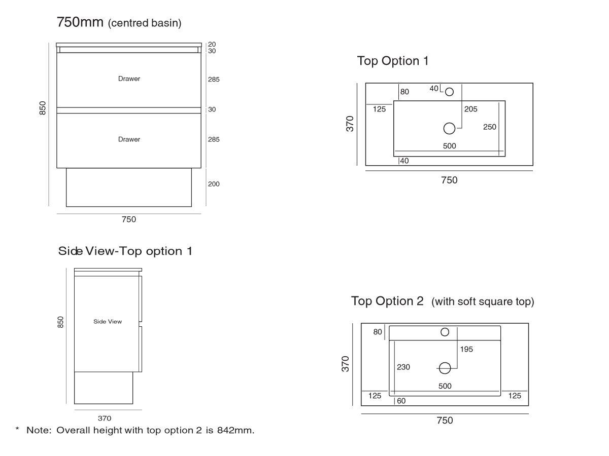 Tasca Slimline Freestanding Vanity Unit Single Bowl 750mm