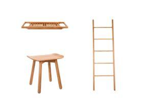 Kado Arc Timber Bathroom Accessories Pack 3 Piece (Towel Ladder, Bath Rack & Stool) American Oak