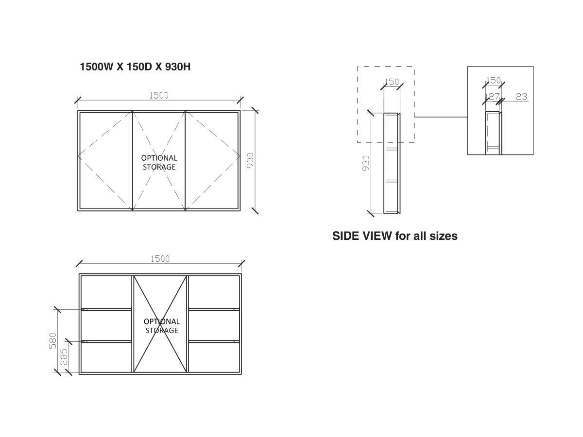 Issy Z8 Triple Shaving Cabinet 1500mm (Wide) x 150mm (Deep) x 930mm (Height)