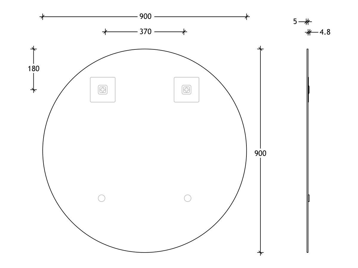 Posh Domaine Round Polished Edge Mirror 900x900