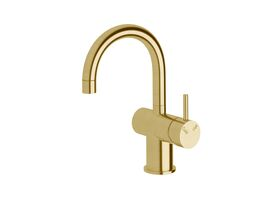 Scala Basin / Sink Mixer Tap Small Curved Spout Right Hand LUX PVD Brushed Pure Gold (4 Star)