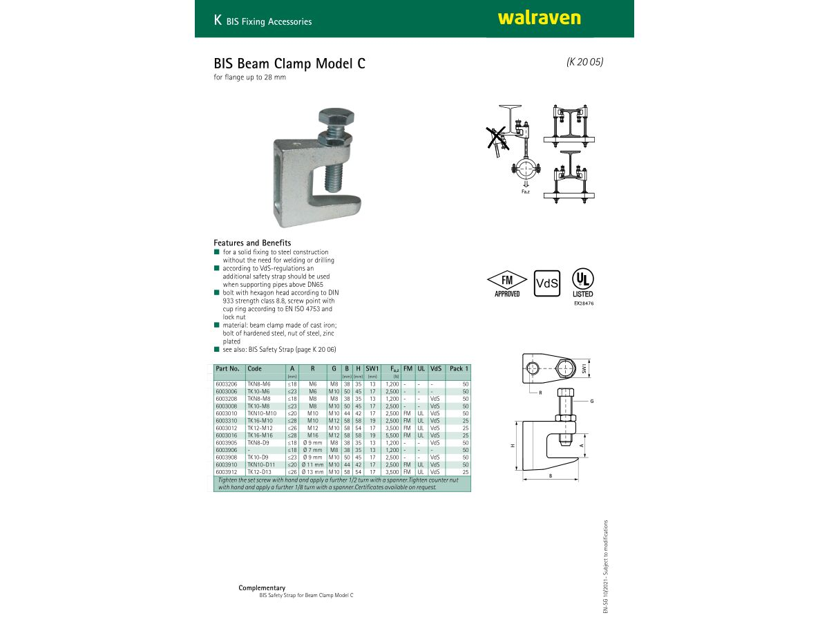 Specification Sheet - Walraven Beam Clamp suit 10mm Threaded Rod