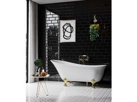 Kado Era Freestanding Bath 1700mm White with Gold Claw Feet