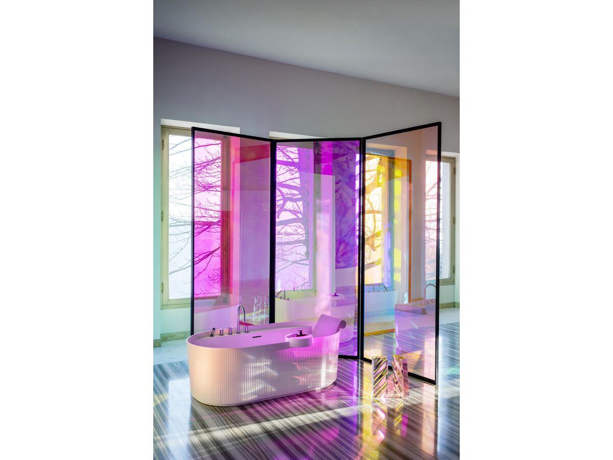 LAUFEN Sonar Freestanding Bath with Overflow 1600 x 815 Textured Exterior Surface White