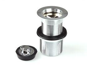 Base (Standard) Plug + Waste 32/40mm x 80mm Rubber/Loop Chrome