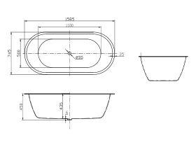 Posh Solus Oval Inset Bath White 1585mm x 745mm White
