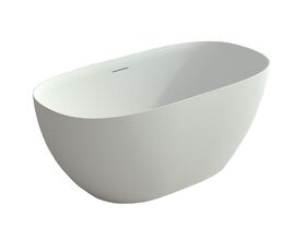 Kado Lussi Cast Solid Surface Freestanding Thin Edge Bath with Plug & Waste 1700mm White