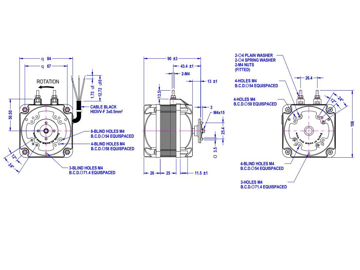 Universal Square Fan Motor 16 watt