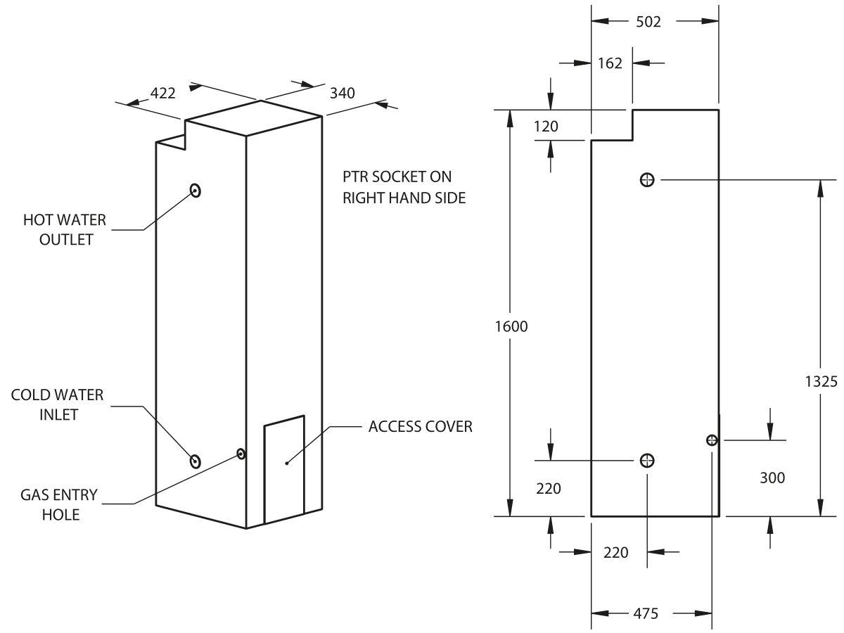 Thermann Gas 135L Storage Dimensions